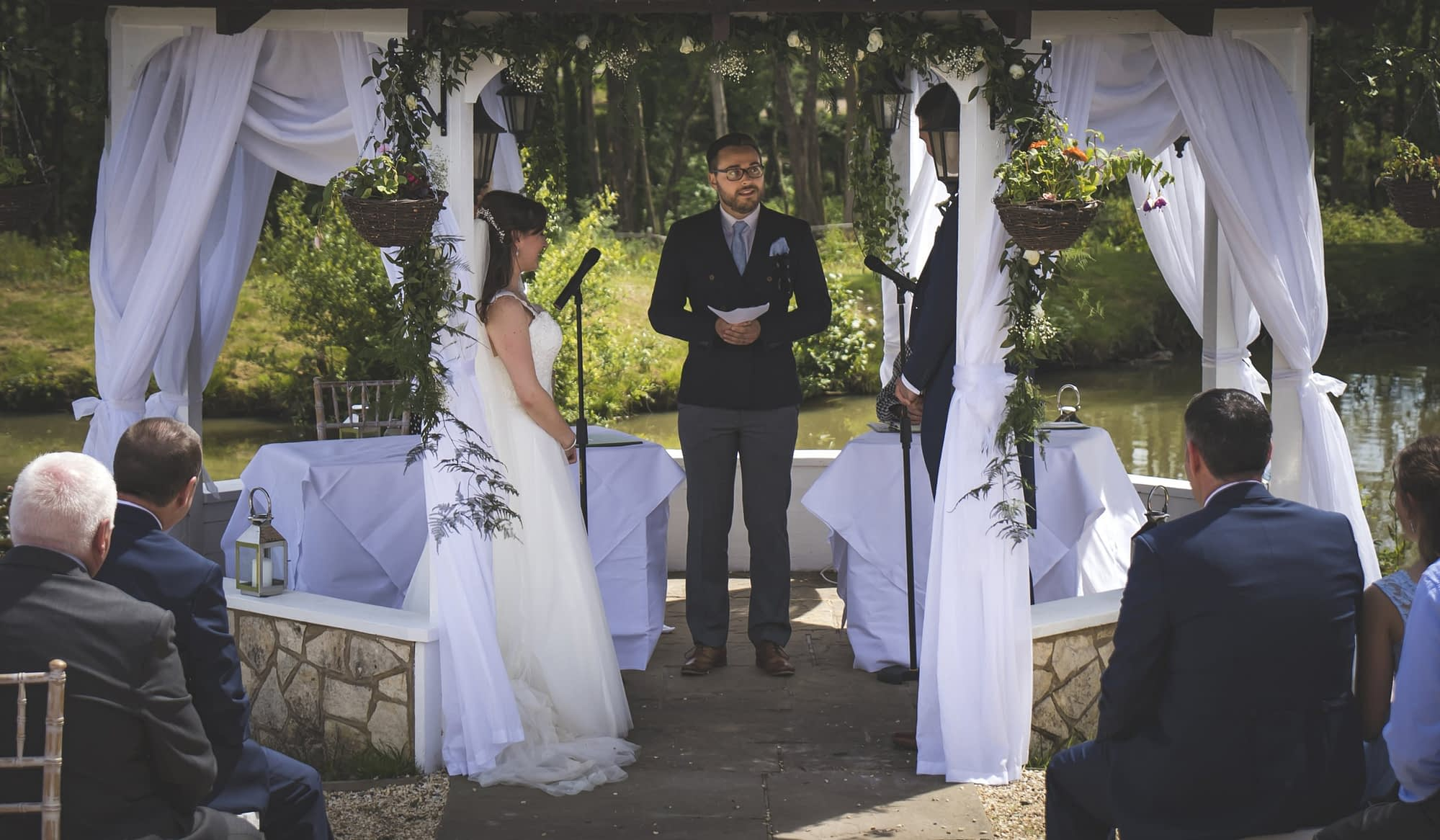 couple saying vows outdoor wedding