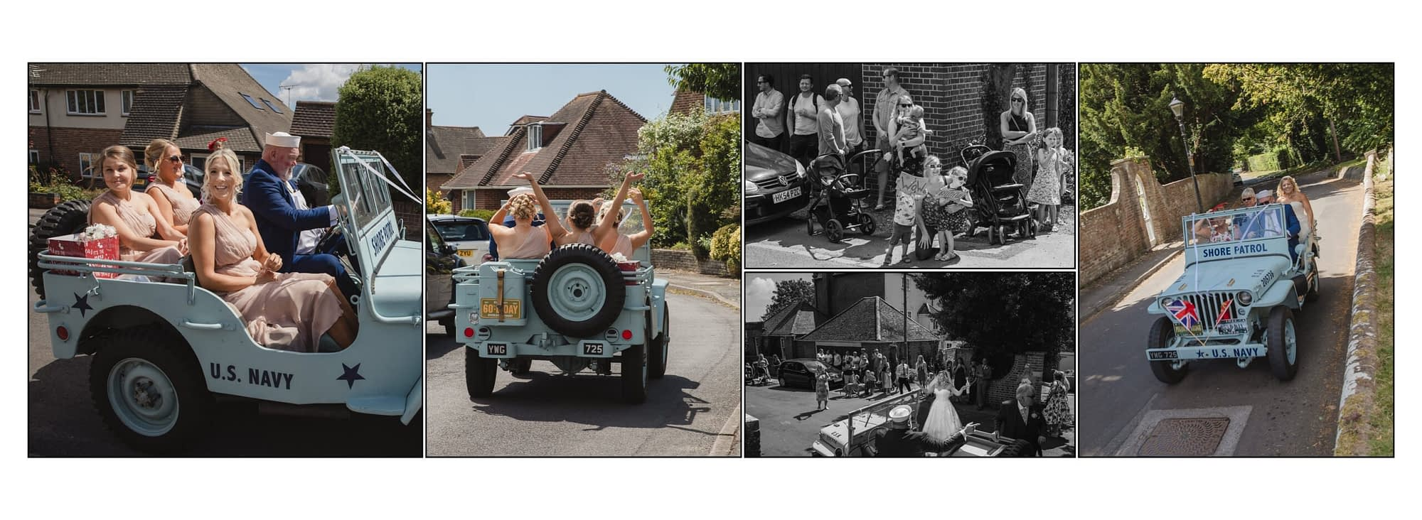 collection of photographs with bridal party in a Jeep