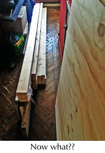 wood stacked in hallway