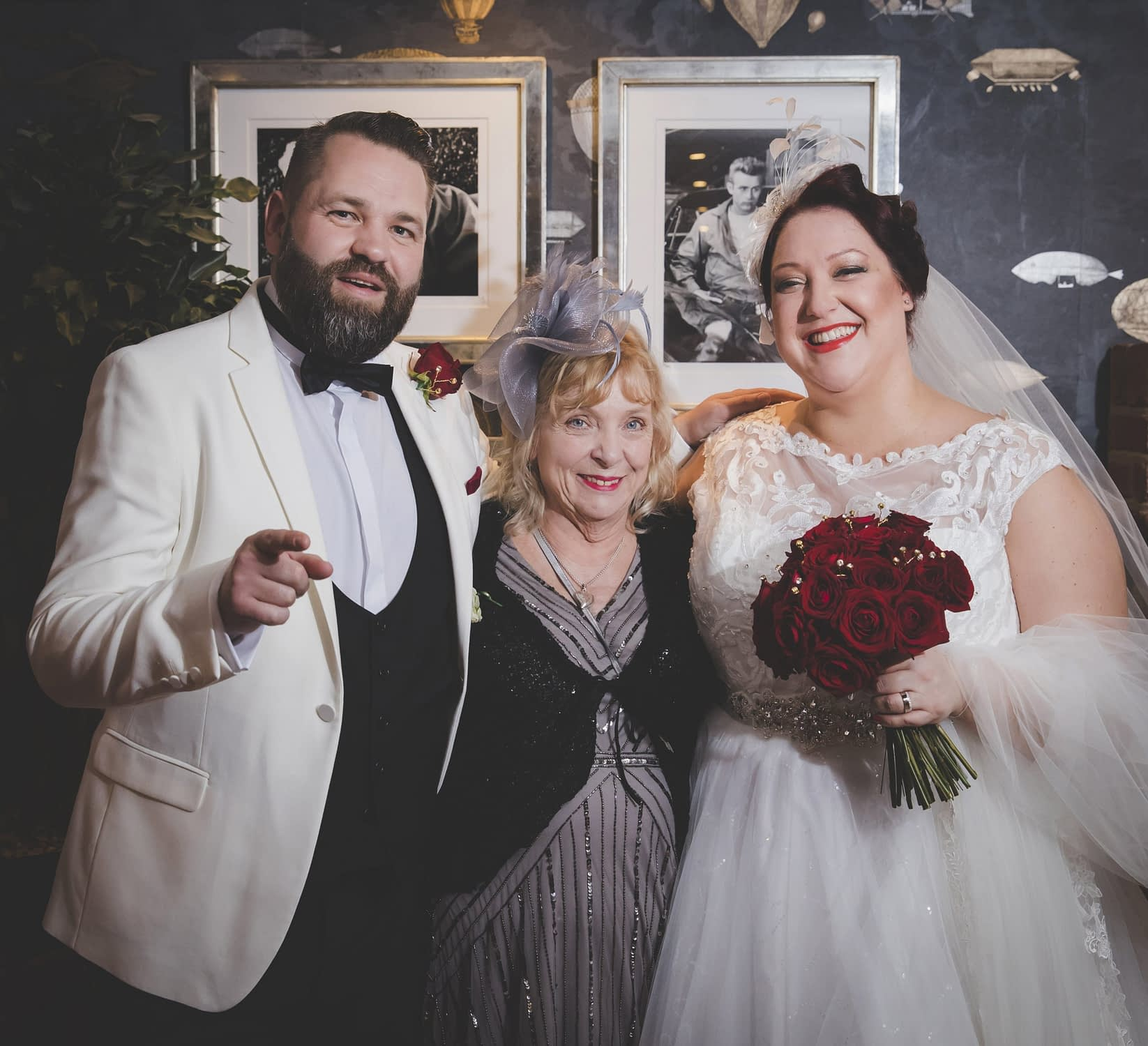 bride and groom with Nan