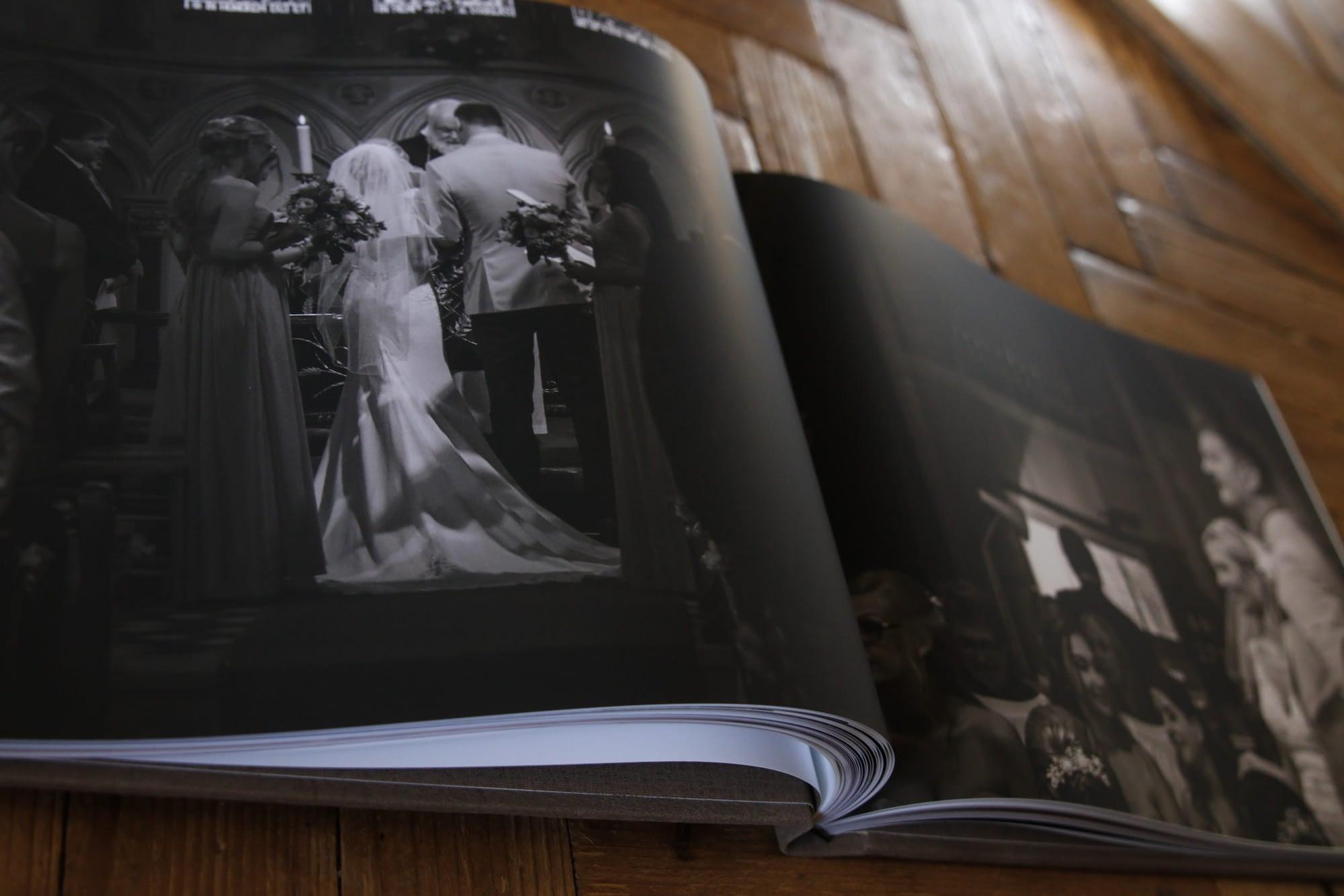 open book showing wedding