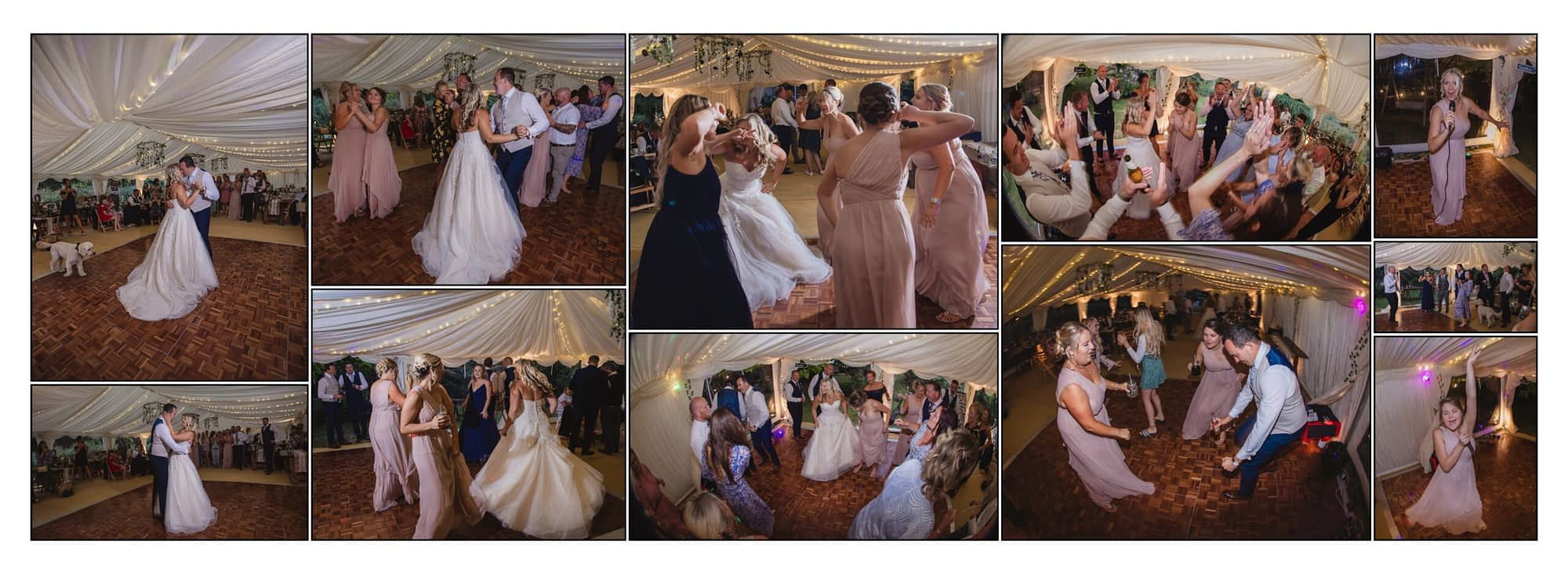 collection of photographs showing guests at a wedding dancing