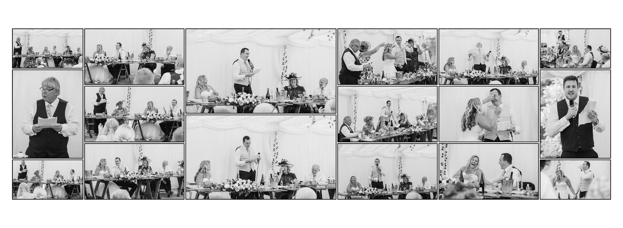 collection of photographs showing people sitting down in a marquee