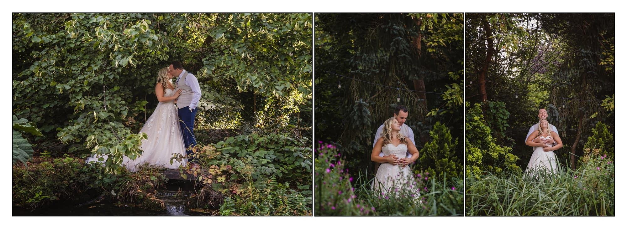 bride and groom together in trees and bushes
