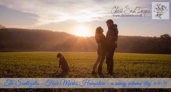 couple with dog and sunset and blue text