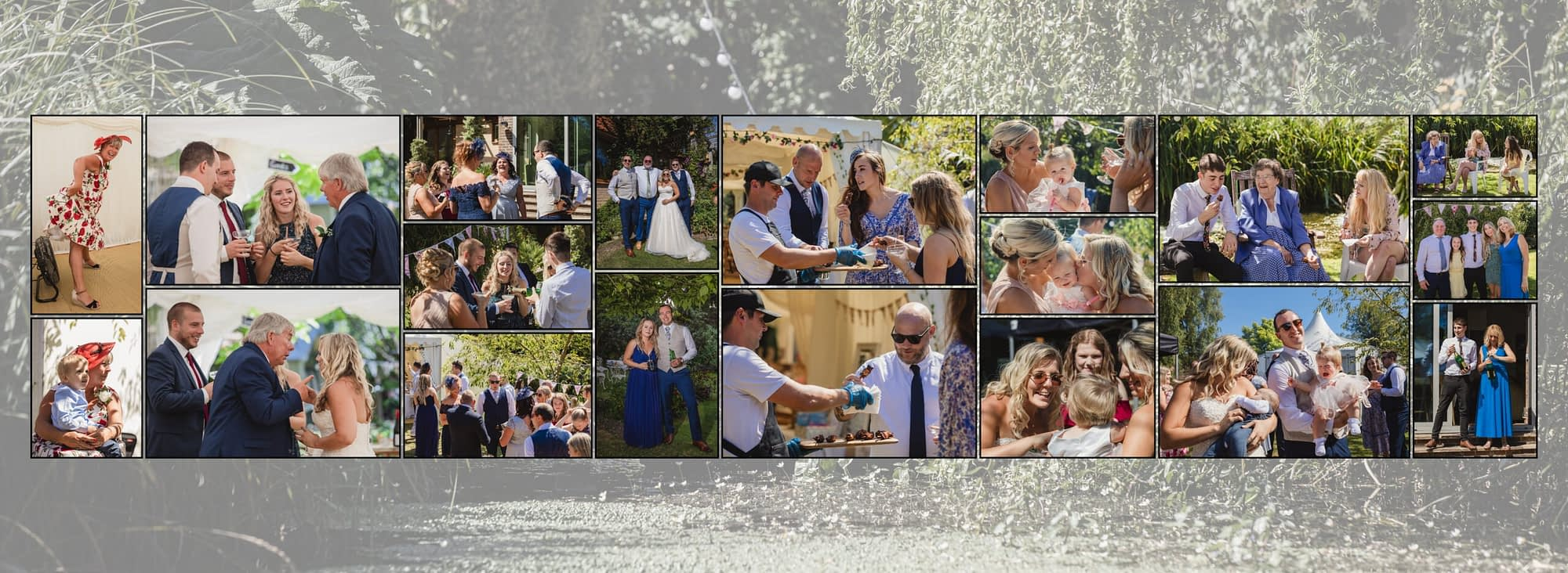 collection of photographs showing people chatting outside together